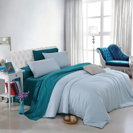 Plain Teal and Light Blue Luxury Noble Excellence Modern Western Style Expensive Microfiber Tencel Percale Full, Queen Size Bedding Sets