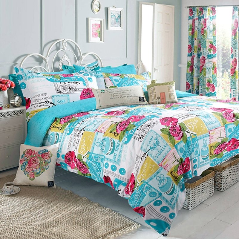 Turquoise Red Yellow and Green Victorian Rose Plaid Print Exotic Vintage Western Style 100% Cotton Damask Full, Queen Size Bedding Sets
