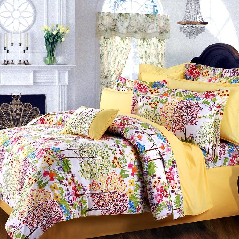 Lime Green Red and Yellow White Natural Fall Scene Jungle Themed Luxury Wrinkle Free 100% Egyptian Cotton Full, Queen Size Bedding Sets
