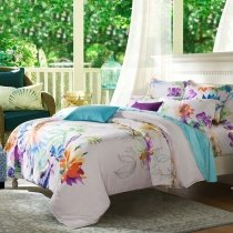 White Purple and Orange Colorful Floral Print Rustic Western Bright Girls Tropical Luxury 100% Modal Tencel Full, Queen Size Bedding Sets
