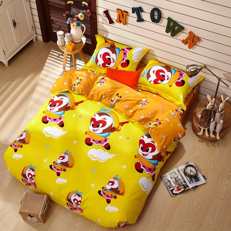 Yellow Orange and Red Monkey King Chinese Story Mythology Anime Style 100% Cotton Twin, Full, Queen Size Bedding Sets for Kids