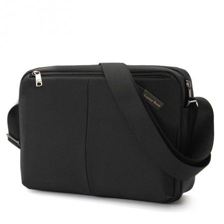 Plain Black High end Oxford Crossbody Shoulder Bag Vogue Cool Casual Quilted Zipper Medium Messenger Bag for Men and Boys