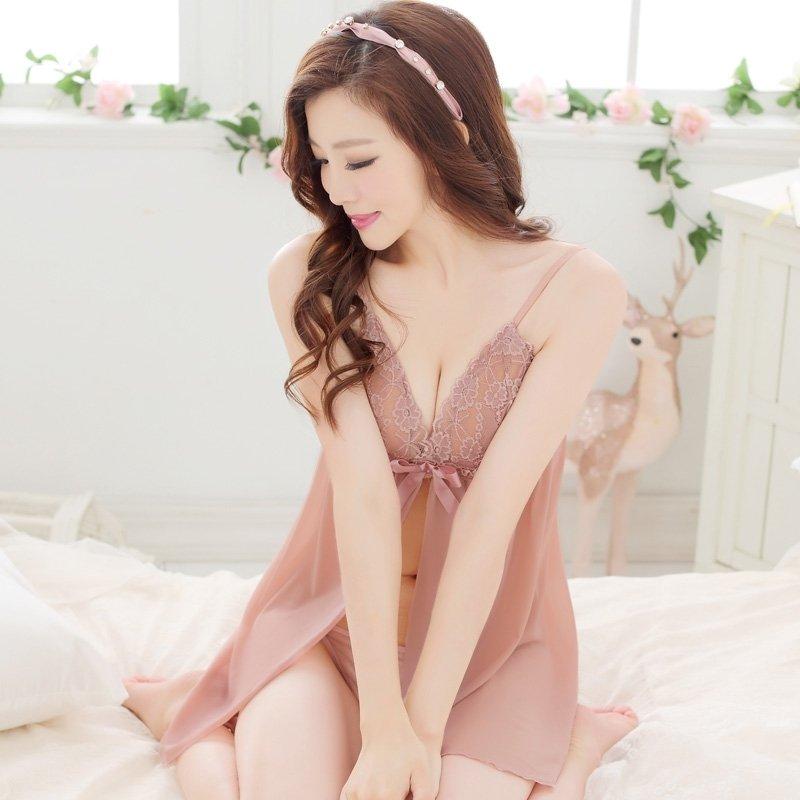 Pink Cute Sexy Seductive Halter Top V-neck Skirt Long Sleeve Sexy Lingerie Padded Bra Girls Pajamas