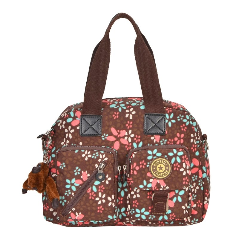Red Blue and Coffee Brown Ultra-lightweight Nylon Crossbody Shoulder Purse Water-proof Abstract Flower Casual Motorcycle Tote Bag