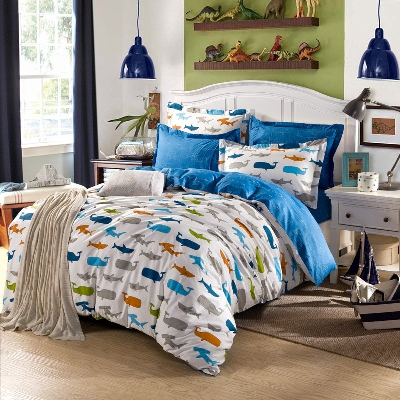 Boys Blue Orange and Green Colorful Ocean Fish Whale and Shark Print Cartoon Themed 100% Cotton Twin, Full, Queen Size Bedding Sets