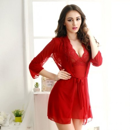 Hot Red Sexy Transparent Seductive See-through Embroidered Halter Top Deep V Skirt Wide Straps Long Sleeve Thin M L Pajamas