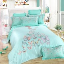 Turquoise Grey and Pink Butterfly Print Little Girl Pattern Contemporary Modern Princess Style 100% Tencel Full, Queen Size Bedding Sets