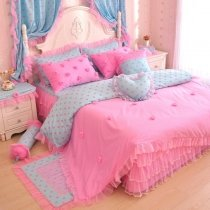 Elegant Girls Hot Pink and Tiffany Blue Polka Dot Design Feminine Feel Princess Style Reversible Twin, Full, Queen Size Bedding Sets