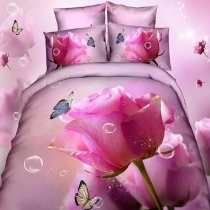 Fuchsia and Pink Butterfly and Roses Print Cute Girly Themed Romantic 100% Cotton Twin, Full Size Bedding Sets for Girls