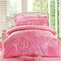 Pink Victorian Lace and Gathered Ruffle Heart and Rose Pattern Princess Style Jacquard Linen Full, Queen Size Bedding Sets