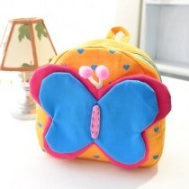 Personalized Cute Animal Butterfly-shaped Heart Print Toddler School Backpack Yellow Blue Durable Canvas Girls Stylish Small Book Bag