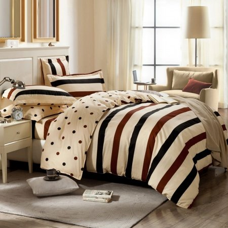 Coffee Brown and Beige Rugby Stripe and Polka Dot Design Traditional Reversible 100% Cotton Twin, Full, Queen Size Bedding Sets