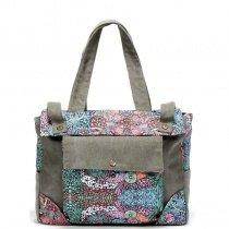 Durable Taupe Blue Pink Canvas Zipper Casual Women Large Diaper Tote Bag Personalized Bohemian Western Floral Print Shoulder Handle Bag