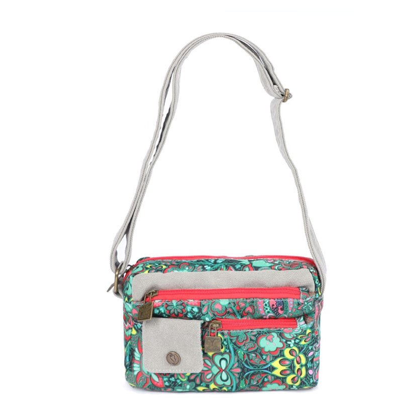 Personalized Durable Canvas with Colorful Bohemian Vintage Western Floral Casual Studded Small Women Crossbody Shoulder Bag