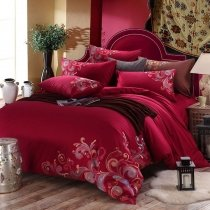 Dark Red Fancy Swirl Design Noble Excellence Abstract Design Southwestern Style Unique 100% Cotton Full, Queen Size Bedding Sets