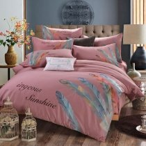 Puce Orange and Peacock Blue Feather Pattern Monogrammed Shabby Chic Southwestern Style 100% Cotton Full, Queen Size Bedding Sets