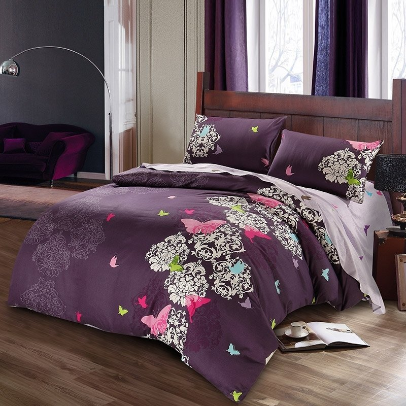 Eggplant Purple Pink and White Butterfly and Victorian Pattern Old Fashion Retro Chic 100% Cotton Full, Queen Size Bedding Sets