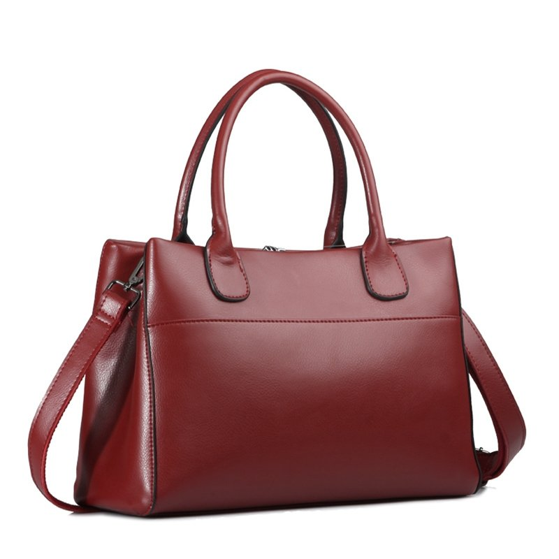 Durable Plain Burgundy Red Genuine Cowhide Leather Women Crossbody Shoulder Bag Stylish Sewing Pattern Casual Business Large Tote