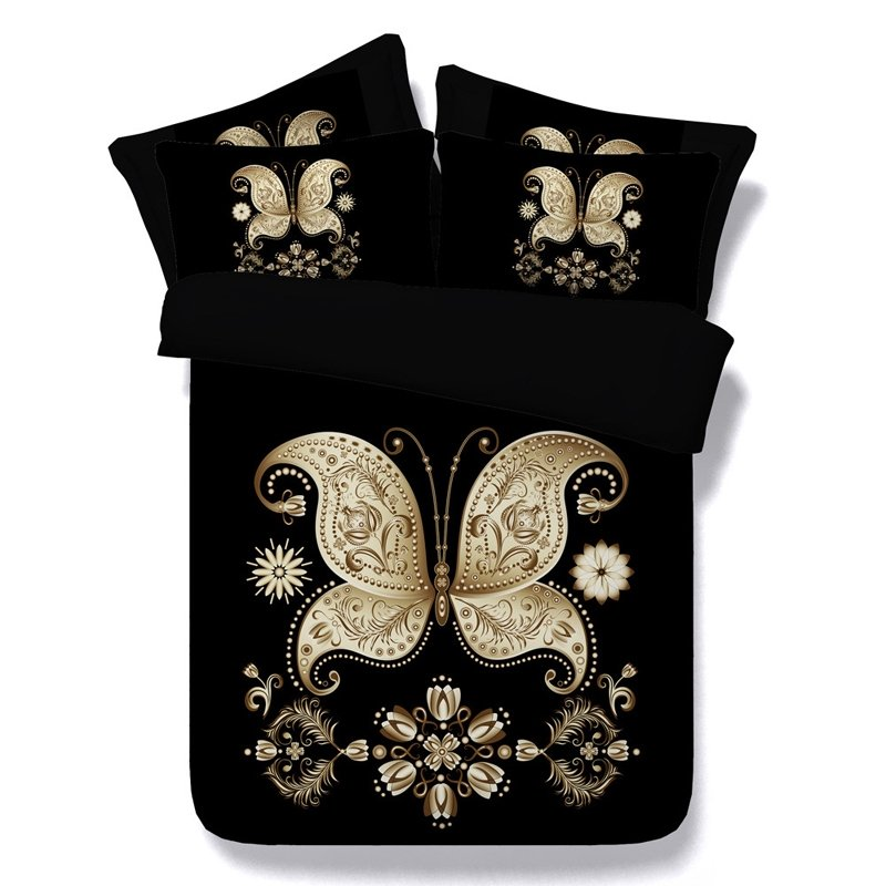 Black and Gold Butterfly Print Noble Excellence Luxury Royalty Style Western Modal Fiber Twin, Full, Queen, King Size Bedding Sets