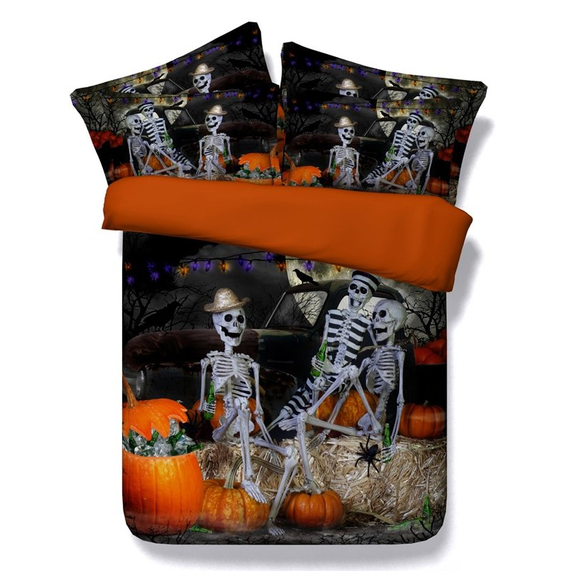 Black Orange and Grey 3D Skull Print Punk Style Shabby Chic Halloween Style Twin, Full, Queen, King Size Bedding Sets