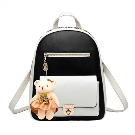 Simply Chic Black White Faux Leather with Keychain Women Casual Hiking Travel Backpack Trend Sewing Pattern Preppy School Book Bag