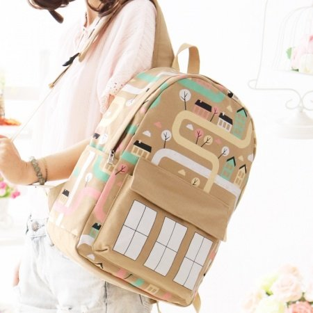 Khaki Brown Canvas Colorful House Junior Preppy School Book Bag Personalized Casual Travel Backpack Durable Hip-hop 14 Inch Laptop Bag