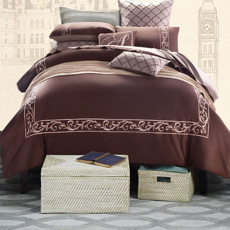 Luxury Coffee Colored Greek Key Inspired Masculine Style Old Fashion 100% Egyptian Cotton Full, Queen Size Bedding Sets