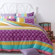 Purple Turquoise and Earth Yellow Stylish Stripe and Bohemian Style Exotic Southwestern 100% Cotton Damask Full, Queen Size Bedding Sets
