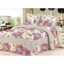 Red Grey and Beige Quilted Design Flower Print French Country Chic Old World Patchwork 100% Cotton Full Size Bedding Sets