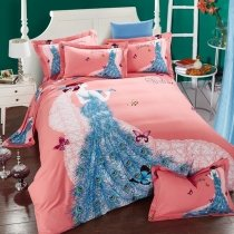 Peacock Blue and Salmon Pink Butterfly Princess Elegant Girls 100% Brushed Cotton Full, Queen Size Bedding Sets