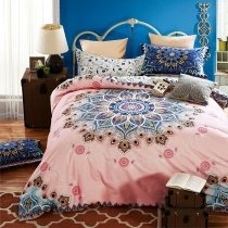 Girls Pink and Royal Blue Indian Pattern Circle Print Modern Bohemian Southwestern Style 100% Brushed Cotton Full, Queen Size Bedding Sets