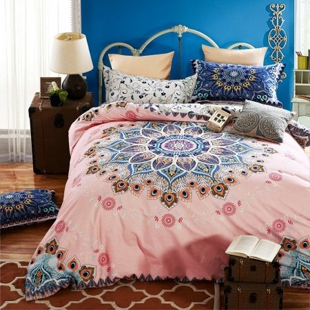 Girls Pink And Royal Blue Indian Pattern Circle Print