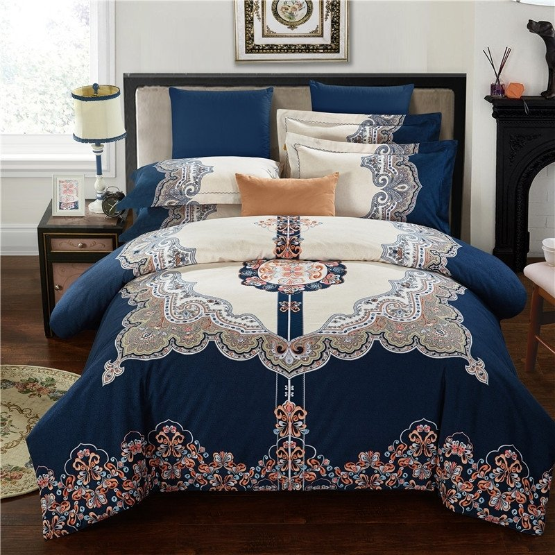 Deep Blue Brown and White Indian Pattern Ethnic Inspired Moroccan Style Exotic 100% Brushed Cotton Full, Queen Size Bedding Sets