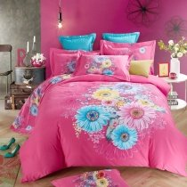 Rose Red Aqua and Yellow Colorful Sunflower Print Country Chic Stylish Elegant Girls 100% Brushed Cotton Full, Queen Size Bedding Sets