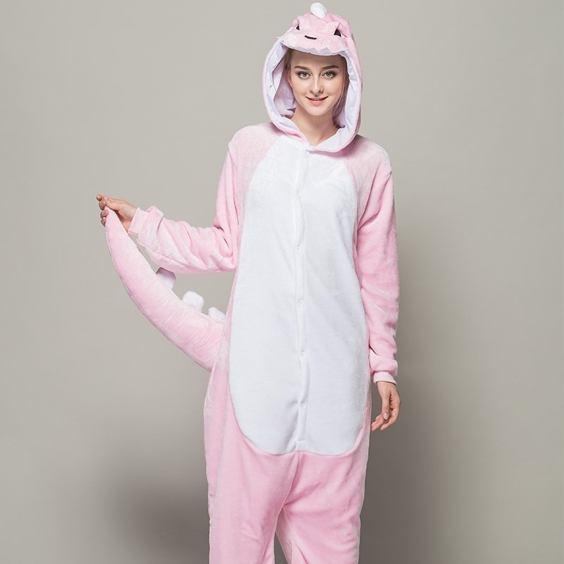 pink winter large tail dinosaur onesies men women adults couple flannel cartoon cosplay halloween animal one piece pajamas