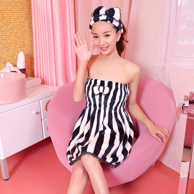 High Quality Female Goddess Flannel Bowknot Lace Ruffled Striped Pleat Sexy Chest Wrapped Towels Summer Pajamas