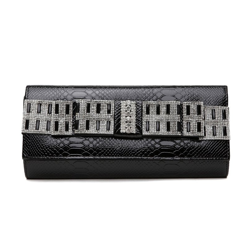 Black Patent Leather Glitter Rhinestone Lady Flap Evening Party Clutch Hipster Magnetic Closure Embossed Alligator Crossbody Shoulder Bag
