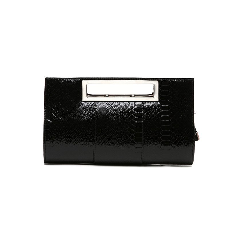 Durable Black Patent Leather Women Casual Party Evening Clutch Personalized Embossed Crocodile Sewing Pattern Crossbody Shoulder Tote Bag