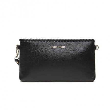 Stylish Black Genuine Cowhide Leather Lady Casual Party Envelope Evening Clutch Wristlet Fine Sequined Crossbody Shoulder Braided Bag