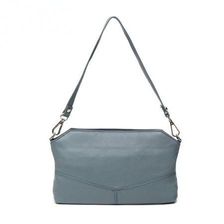 Luxury Blue-grey Cowhide Leather Women Casual Party Envelope Evening Clutch Wristlet Vogue Sewing Pattern Small Shoulder Baguette Bag