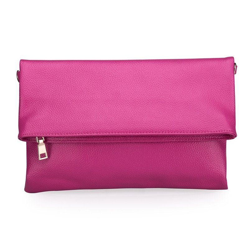 Stylish Magenta Red Genuine Cowhide Leather Women Envelope Evening Party Clutch Boutique Sewing Pattern Folding Crossbody Shoulder Bag