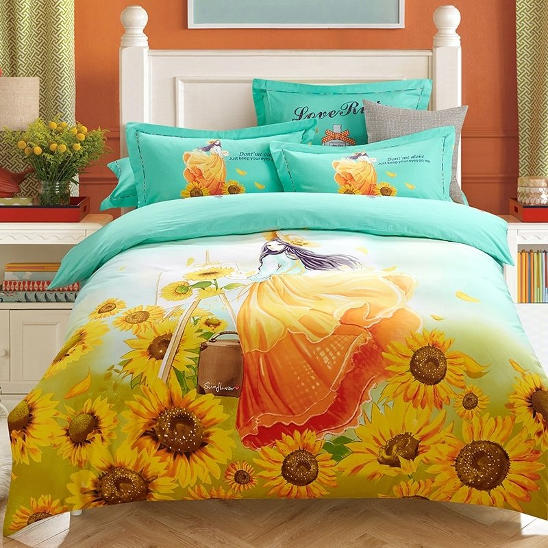 orange yellow and turquoise sunflower and girl print rustic style princess themed 100 brushed. Black Bedroom Furniture Sets. Home Design Ideas