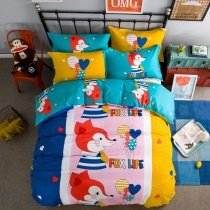 Navy Blue Red Yellow and Pink Colorful Fox Print Anime Style Modern Chic 100% Cotton Twin, Full Size Bedding Sets for Girls | Boys