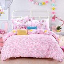 Girls Pink and White Zebra Stripe Print Stylish Cute Style Personalized Reversible 100% Organic Cotton Full, Queen Size Bedding Sets