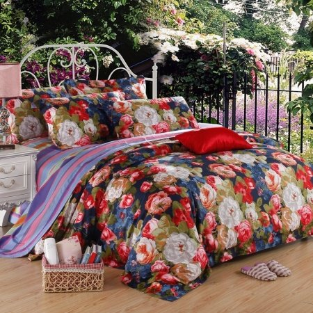 Federal Blue Raspberry Red Green and White Vintage Flower Print Lightweight Egyptian Cotton Full, Queen Size Reversible Bedding Sets