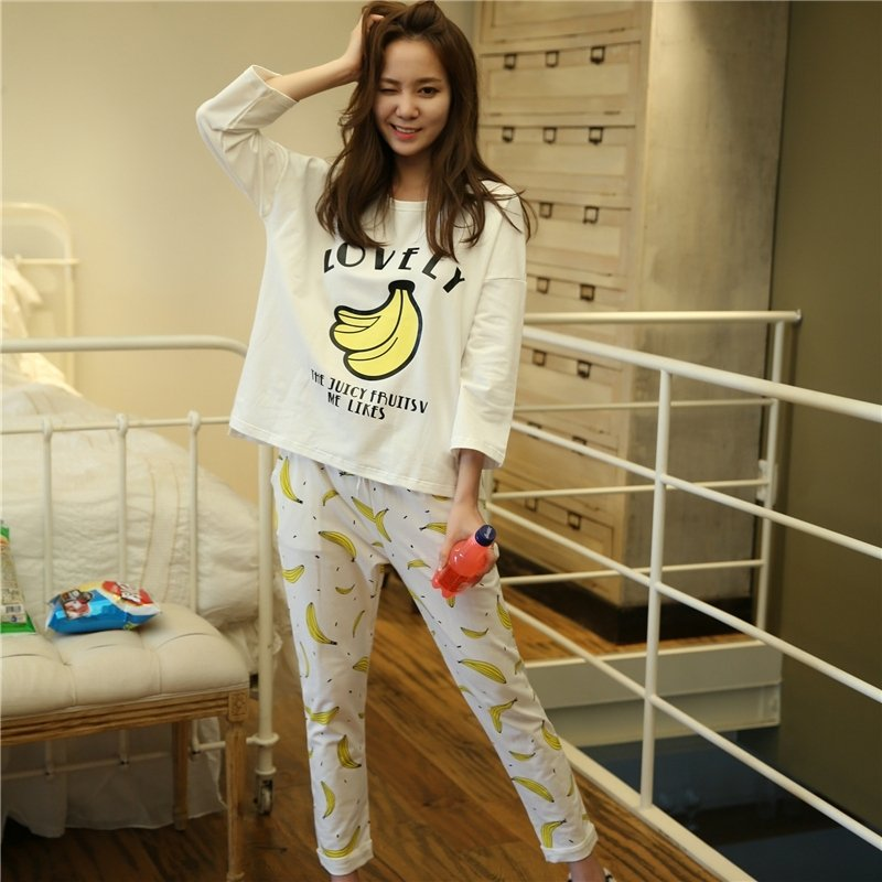 White Banana Print Contracted Pure Cotton Crewneck Long Sleeve Shirt Trousers Girls Pajamas