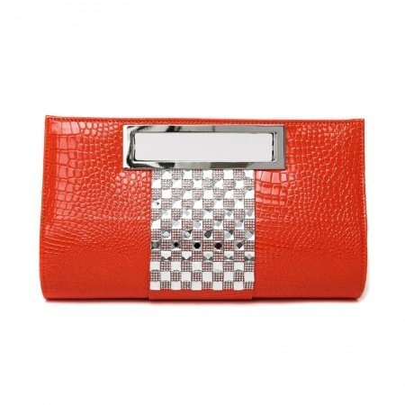 Orange Patent Leather Bling Rhinestone Sequin Women Evening Clutch Personalized Embossed Crocodile Chain Strap Crossbody Shoulder Tote Bag