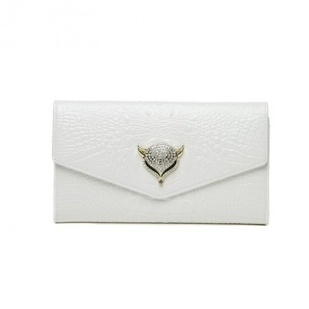 White Cowhide Leather Western Bling Rhinestone Lady Flap Envelope Evening Clutch Hipster Fox Head Embossed Crocodile Crossbody Shoulder Bag