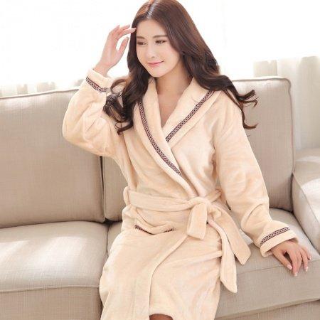 Plain Baby Pink Flannel Bathrobe Night Robe Winter Pajamas for Girls M L XL XXL