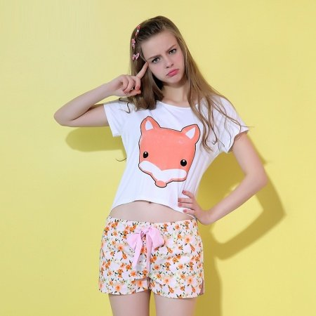 Animal Fox Print Short Sleeve Shirt and Flower Print Shorts Summer Pajamas for Girls S M L